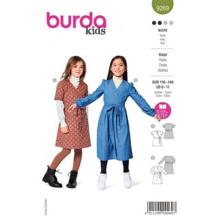 Patron Burda 9269 Kids Robe Portefeuille 116/146