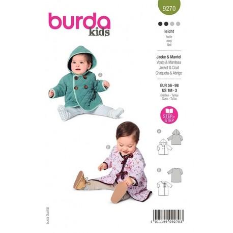 Patron Burda 9270 Baby Veste A Capuche/manteau 56/98