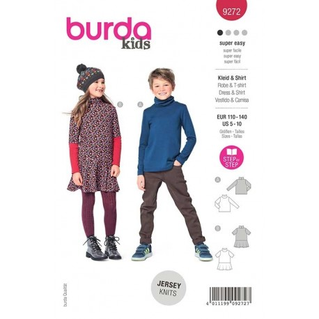 Patron Burda 9272 Kids T Shirt/robe Col Roule 110/140