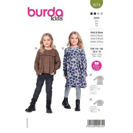 Patron Burda 9274 Kids Robe/blouse 110/140