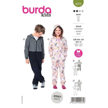 Patron Burda 9275 Kids Combinaison A Capuche 104/134