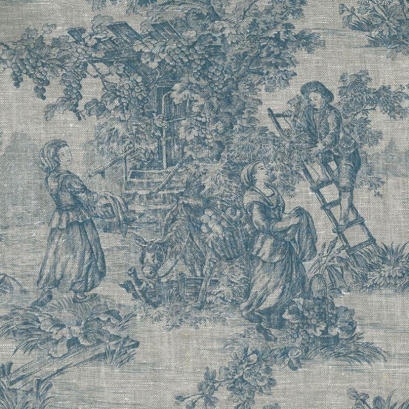 Tissu Toile De Jouy Pastorale Lin Bleu