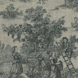 Tissu Toile De Jouy Pastorale Lin Noir