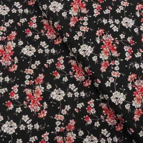 Tissu Coton Imprimé Mume Noir