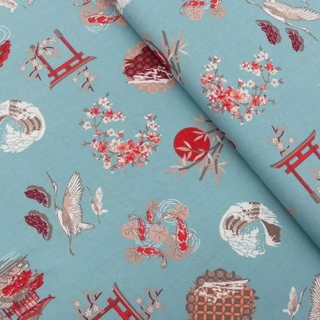 Tissu Coton Imprimé Gekko Bleu