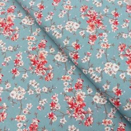 Tissu Coton Imprimé Mume Bleu