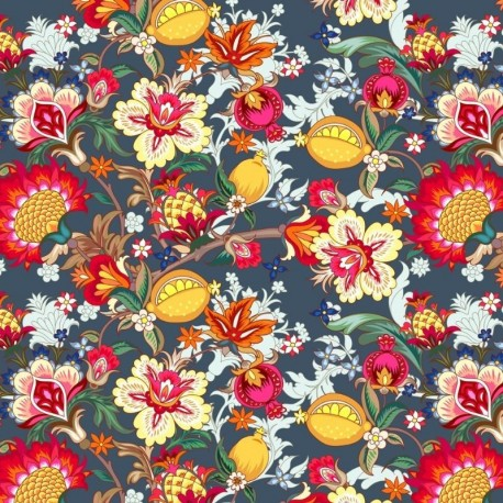 Tissu Popeline Sarah Shelby Fleur Multicolore