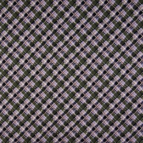Tissu Viscose Imprimé Carreaux Lilas