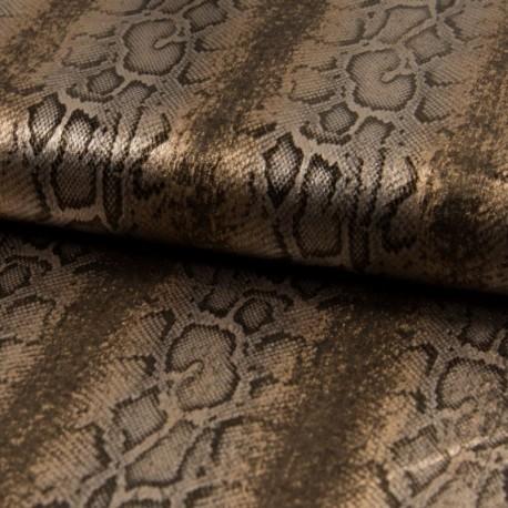 Tissu Sparkling Imprimé Serpent Taupe