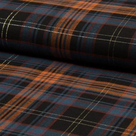 Tissu Carreaux Lurex Citrouille jeans