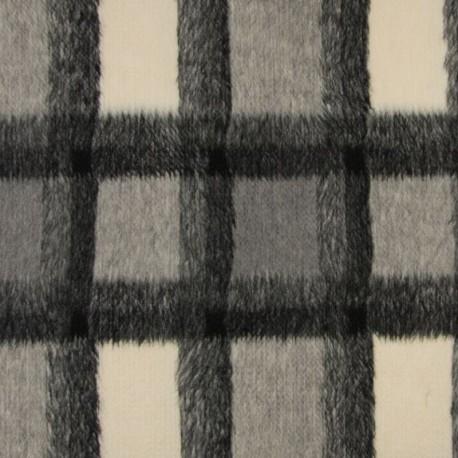 Tissu Carreau Poil Court Gris noir