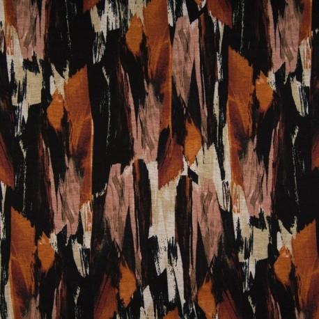 Tissu Imprimé Peinture Orange noir