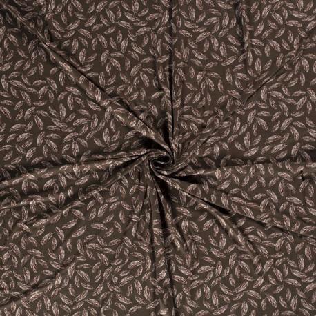 Tissu Jersey Viscose Imprimé Plume Olive