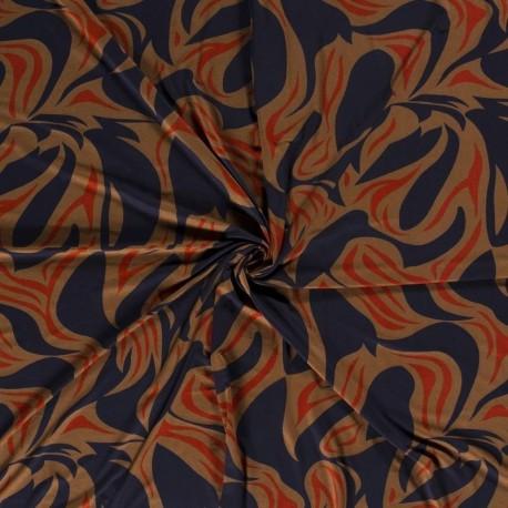 Tissu Jersey Viscose Abstrait Marine