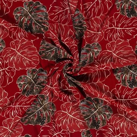 Tissu Crepe Imprimé Feuille Rouge