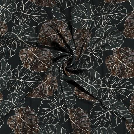 Tissu Crepe Imprimé Feuille Vert