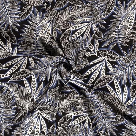 Tissu Crepe Feuillage Indigo
