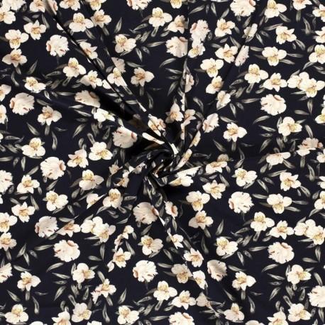 Tissu Crepe Imprimé Fleur Marine