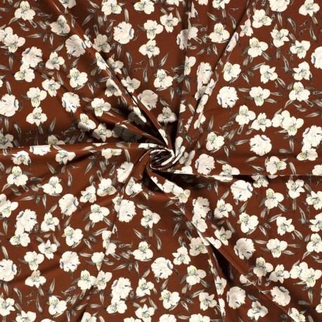 Tissu Crepe Imprimé Fleur Brique