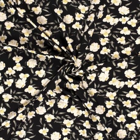 Tissu Crepe Imprimé Fleur Noir