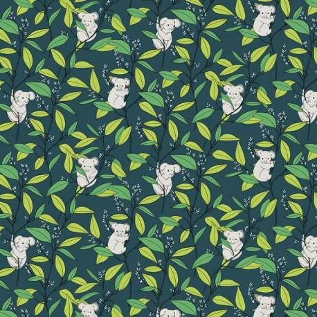 Tissu Cretonne Imprimé Koala Vert