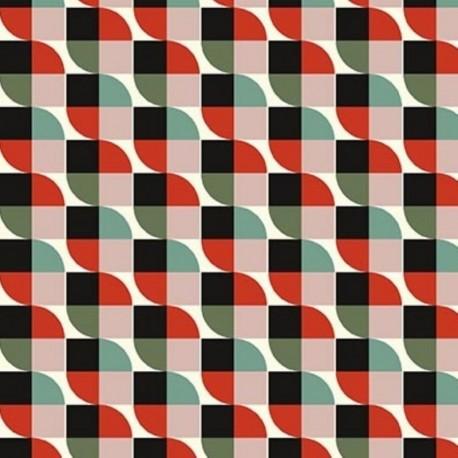 Tissu Cretonne Imprimé Joplin Rouge et Vert