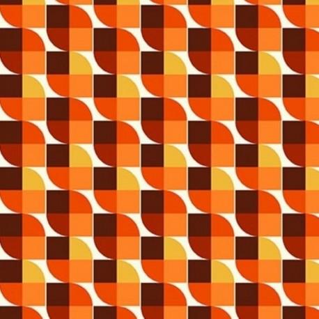 Tissu Cretonne Imprimée Joplin Orange
