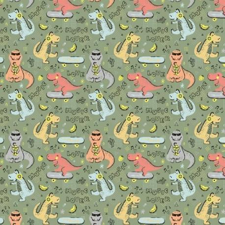 Tissu Imprimé Dino Kaki