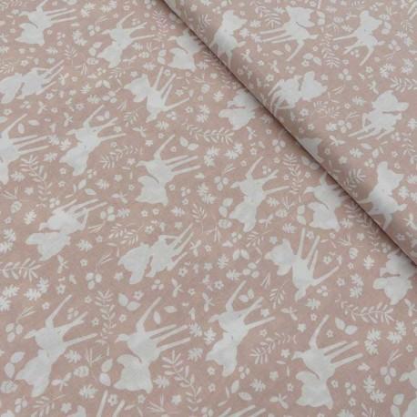 Tissu Cretonne Imprimé Bambi Rose