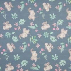 Tissu Jersey Coton Imprimé Elephant Bleu