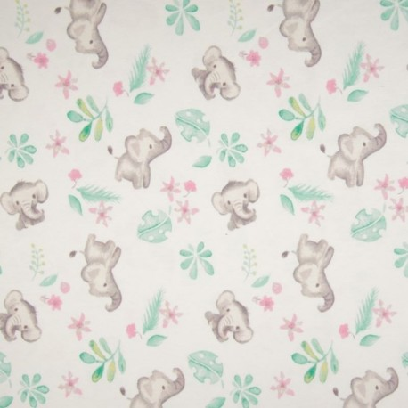 Tissu Jersey Coton Imprimé Elephant Blanc