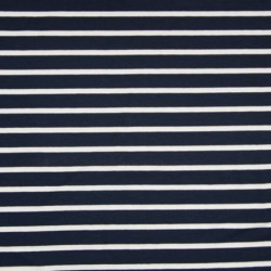 Tissu Viscose Rayure Blanc Fond Navy