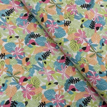 Tissu Coton Imprimé Douala Abricot et gris