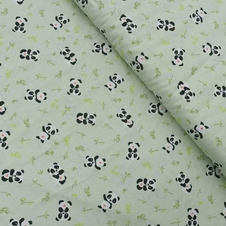 Tissu Coton Imprimé Panda Doki Vert