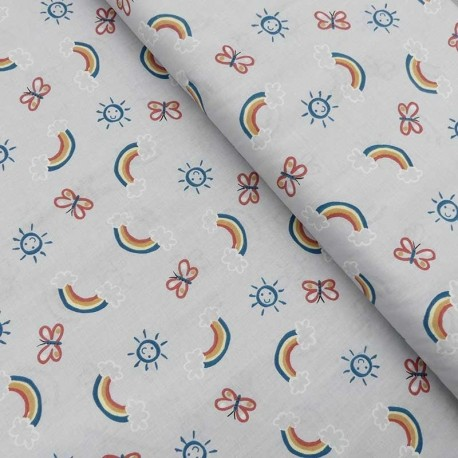 Tissu Coton Imprimé Zesun Gris Petrole