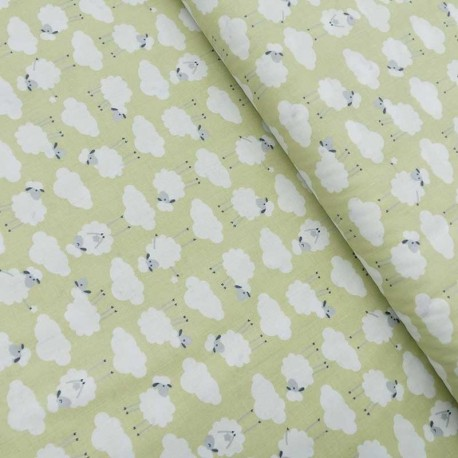 Tissu Coton Imprimé Sweet Sheep Gris Vert