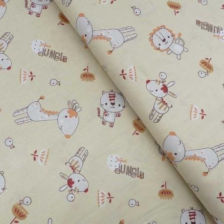 Tissu Coton Imprimé Sweet Jungle Gold