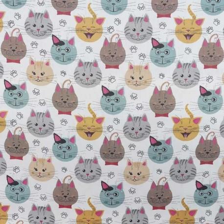 Tissu Coton Imprimé Numerique Chat Va
