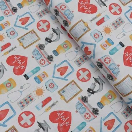 Tissu Coton Imprimé Numerique Urgence