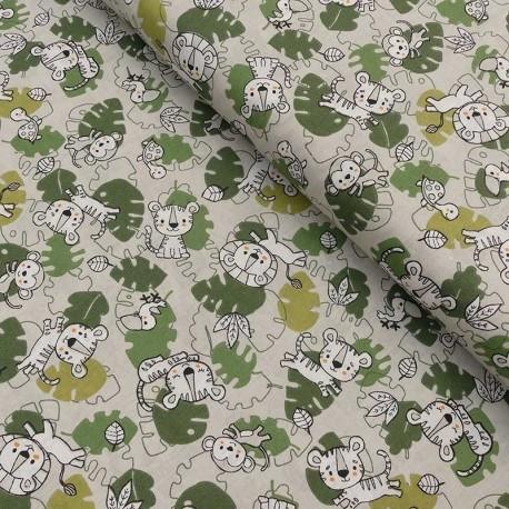 Tissu Coton Imprimé Jungle Vert