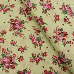 Tissu Popeline Rose Fond vert