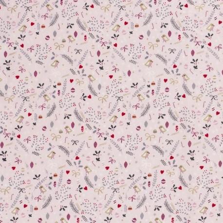 Tissu Coton Imprimé Oiseaux houx Rose