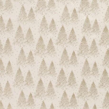 Tissu Coton Imprimé Sapin Blanc Cassé