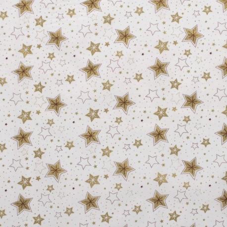 Tissu Coton Imprimé Etoile Blanc Cassé