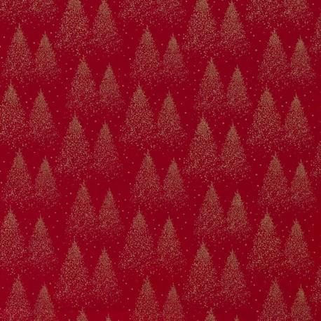 Tissu Coton Imprimé Sapin Rouge