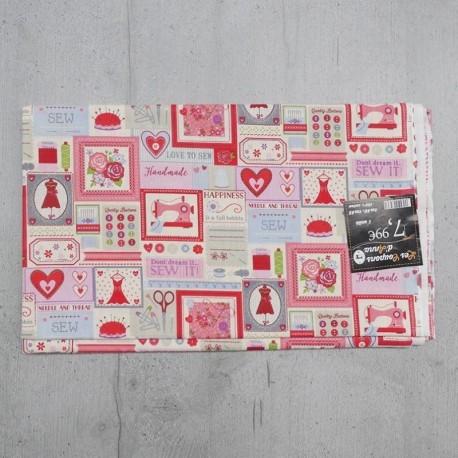 Coupon de Tissu Anna Couture Rose 140x145 cm
