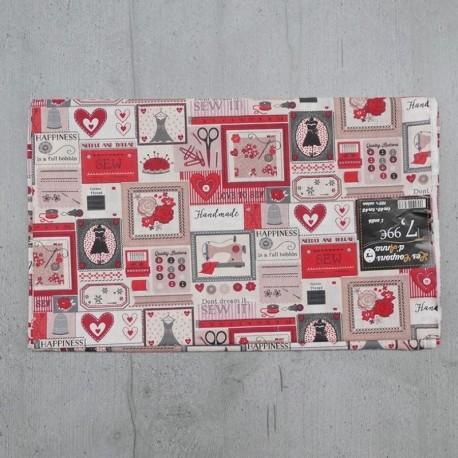 Coupon de Tissu Anna Couture Rouge 140x145 cm