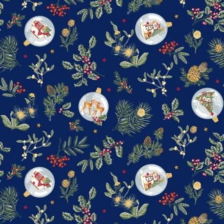 Tissu Noël Imprimé Gui Bleu
