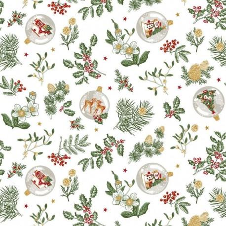 Tissu Noël Imprimé Gui Blanc vert