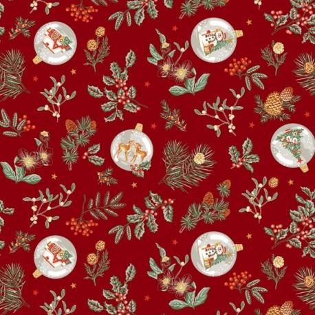 Tissu Noël Imprimé Gui Rouge